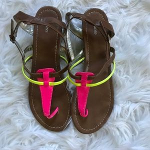 Express Strappy Tan & Neon Sandals - Sz 10